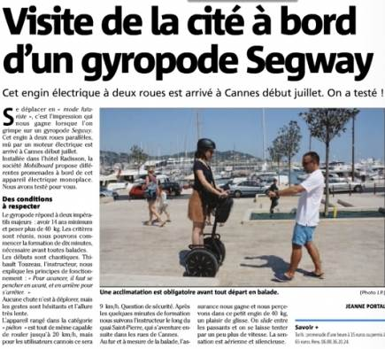 Article Nice-Matin agence Mobilboard Cannes