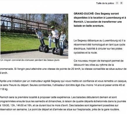 Mobilboard Luxembourg in der Presse - The Daily