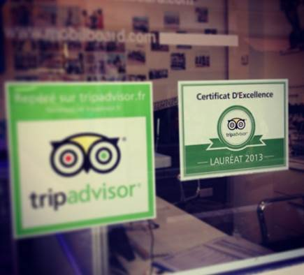 Mobilboard Nice-Promenade receives the Certificate of Excellence 2013 Trip Advisor!