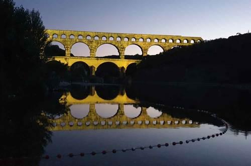 Pont du Gard spectacle son et lumière en juillet août été 2020 © Pont du Gard CP Thibault Hallouin